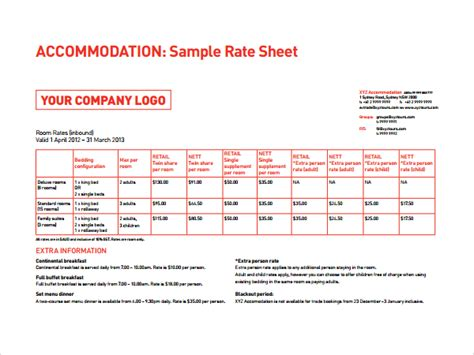 rate card template excel 6 rate sheet templates sle templates