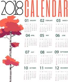 Calendar 2018 Illustrator 2018 Calendar Background Autumn Tree Design Free Vector In
