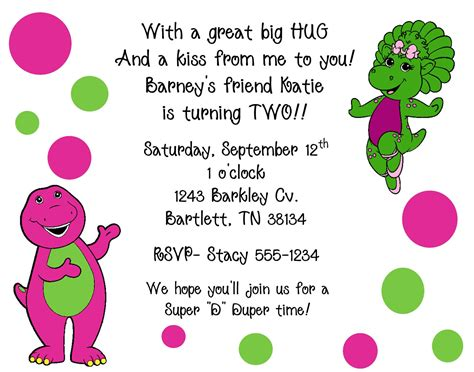 barney invitation template 10 barney baby bop invitations with envelopes by