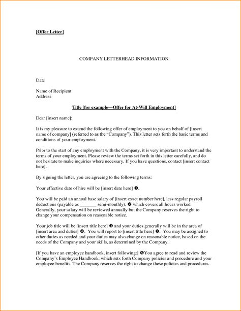 offer of employment letter sle employment offer letter 5 documents in pdf word offer letter