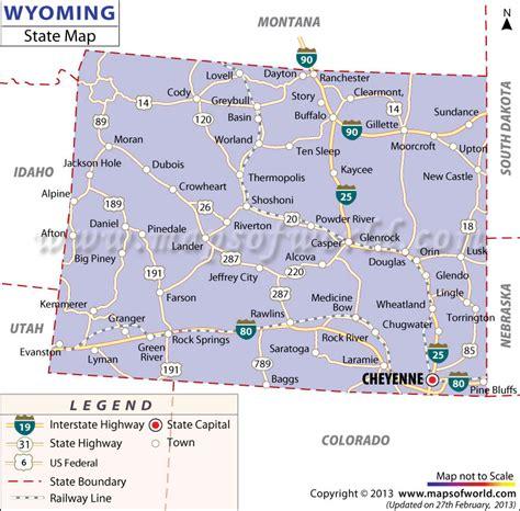 map of wyoming usa wyoming state map