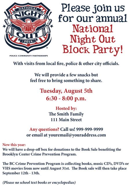 national night out block party invite