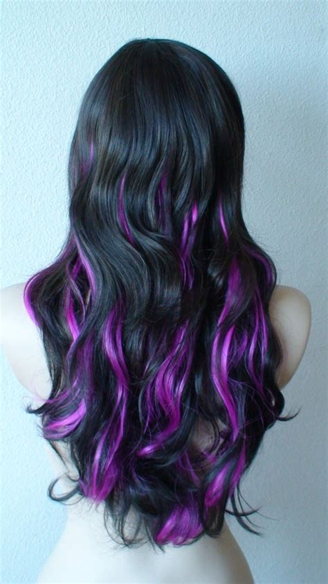 Purple And Black Hairstyles by Hair With Purple Streaks Hairstyle 2013
