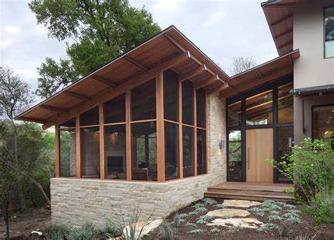 modern porch angled roof screened porch on base unique
