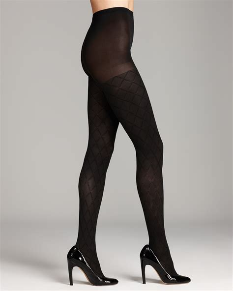 patterned tights control top dkny control top tights diamond texture in black lyst