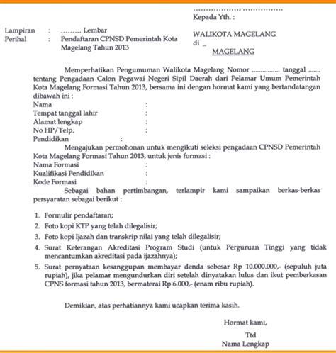 Surat Lamaran Kerja Cpns by Contoh Surat Lamaran Kerja Cpns