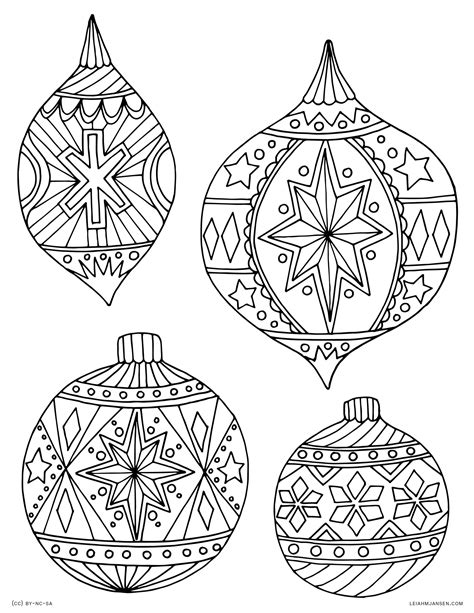 christmas tree ornament coloring pages download printable