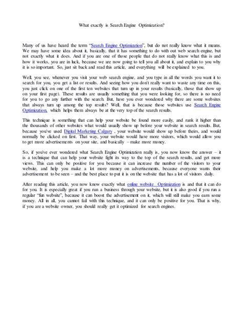 Search Engine Optimization Articles 1 by What Exactly Is Search Engine Optimization