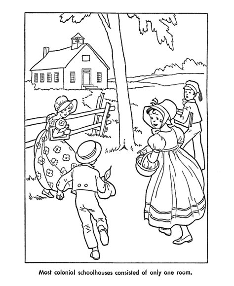 colonial life coloring pages