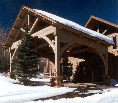 carport porte cochere timber frame porte cochere with king post truss ski