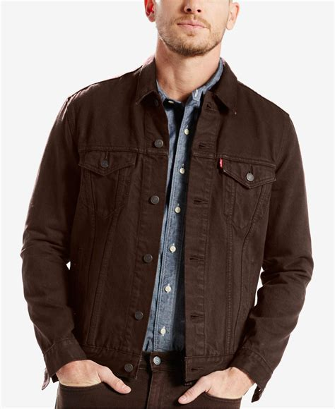 Trucker Denim Jacket In Brown levi s spire trucker jacket in brown for lyst