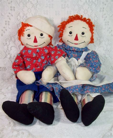 Handmade Raggedy And Andy Dolls - adorable pair of raggedy andy dolls