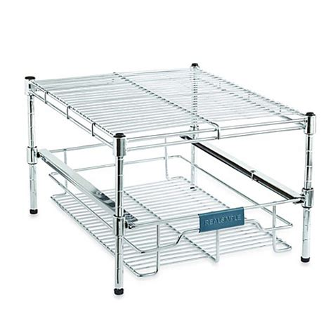 sliding under cabinet organizer real simple sliding under cabinet 13 5 inch organizer in