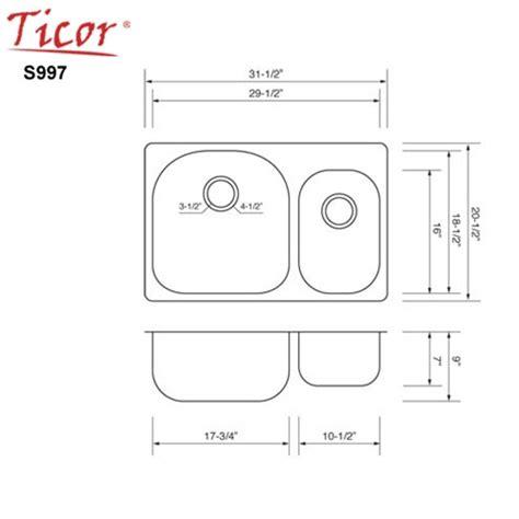 overmount kitchen sinks stainless steel ticor s997 overmount 18 stainless steel bowl