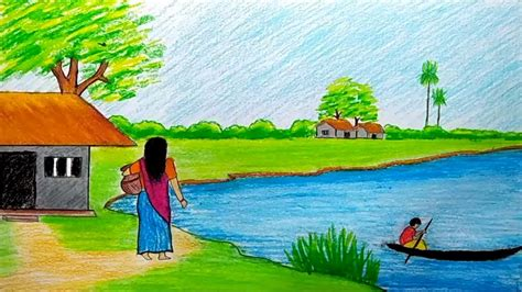 village boat drawing a beautiful village scenery with river drawing tutorial