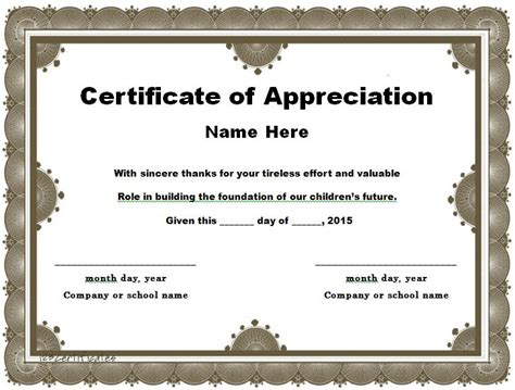 certificate for appreciation template 30 free certificate of appreciation templates and letters