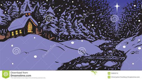 snowy winter evening  church  creek stock vector image