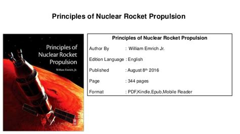 Principles Of Nuclear Rocket Propulsion principles of nuclear rocket propulsion pdf book
