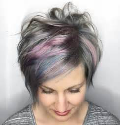 photo of striking with grey and pink hair 60 gorgeous long pixie hairstyles