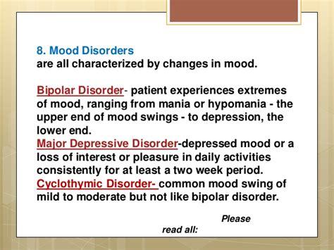 mood swings disorders complete psychological disorders list