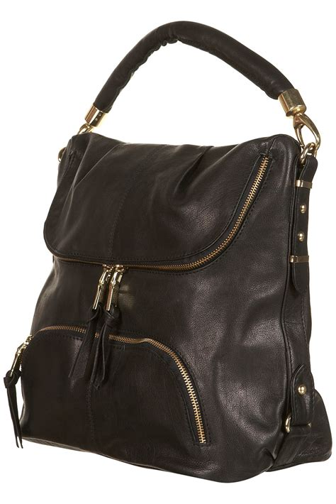 Leather Slouchy Satchel From Topshop by Lyst Topshop Leather Zip Slouch Bag In Black