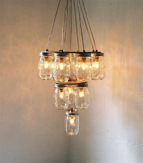 Handcrafted Chandeliers - 3 tier jar chandelier jar lighting