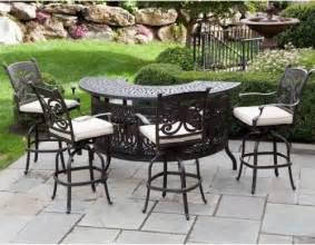 Outdoor Patio Bar Furniture Alfresco Home Farfalla Cast Aluminum Bar Dining Set Seats 4 Contemporary Patio