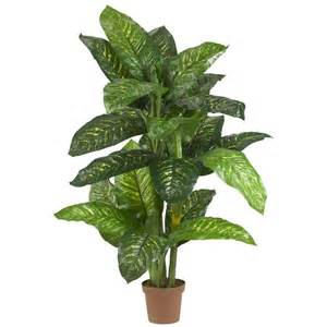 Indoor Entryway Rugs Nearly Natural Real Touch 5 Ft Green Dieffenbachia Silk