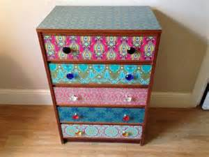 vintage upcycled chest of drawers decoupaged furniture