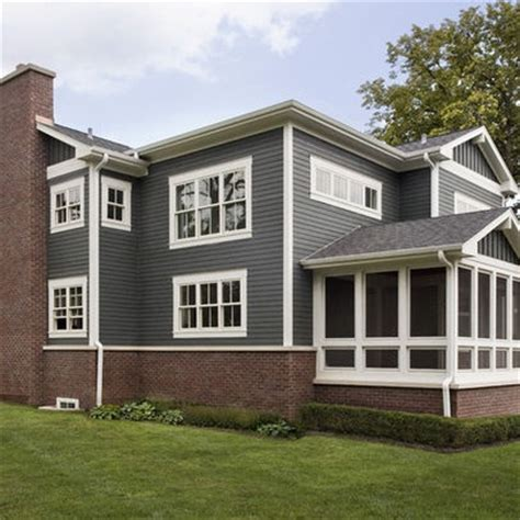 red brick house with grey siding red brick grey blue siding white trim lovely homes