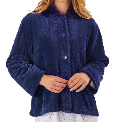 bed coat bed jacket slenderella womens button up super soft faux
