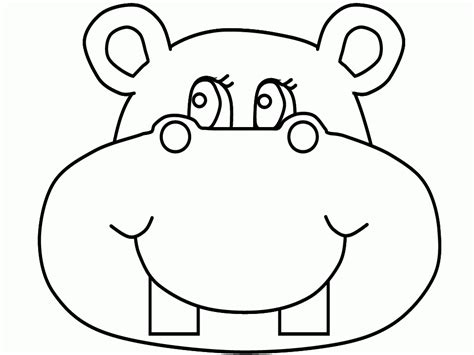 hippo face coloring page hippo funny face cartoon coloring pages cartoon