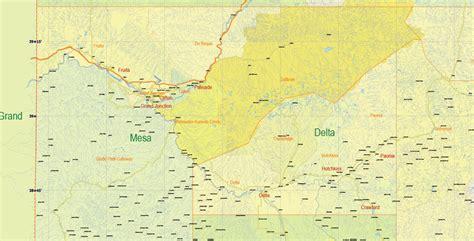 map of colorado vector printable map state colorado us main roads admin 10 ai pdf 18