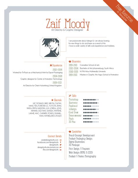 Design Resume Template by Free Resume Template For Graphic Designers Illustrator