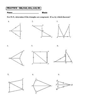 Sss Sas Aas Hl Worksheet geometry unit 8 congruent triangles sss sas aas hl