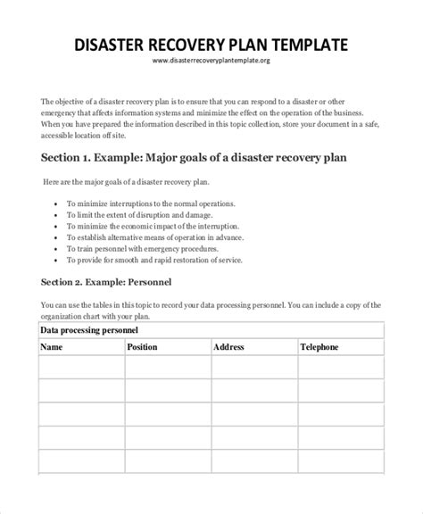 disaster recovery plans template plan template 18 free word pdf psd indesign format