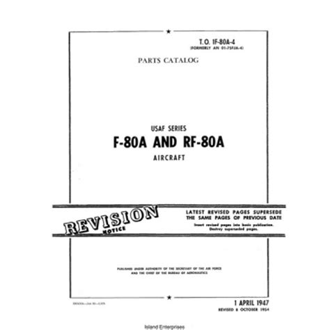 section 80a lockheed f 80a and rf 80a usaf series aircraft parts
