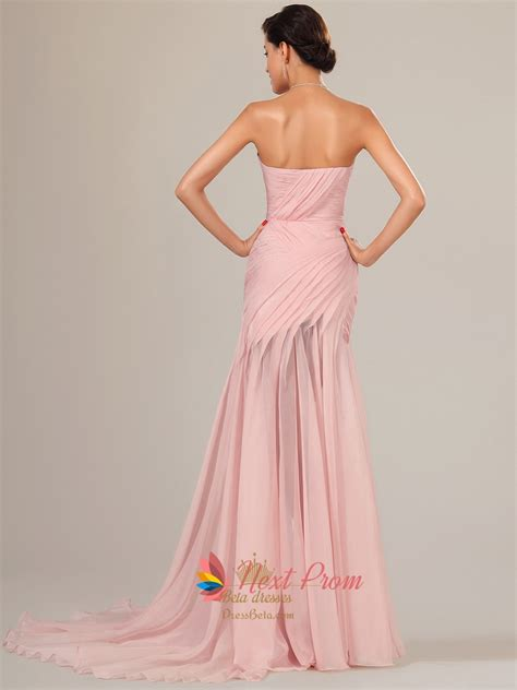 Dress Pearl Hotpink pearl pink chiffon prom dresses floor length with slits