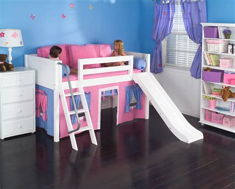 house of bedrooms kids sale playhouse low loft bed w slide by maxtrix kids hot pink