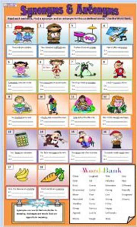 antonym for challenging synonyms and antonyms worksheet