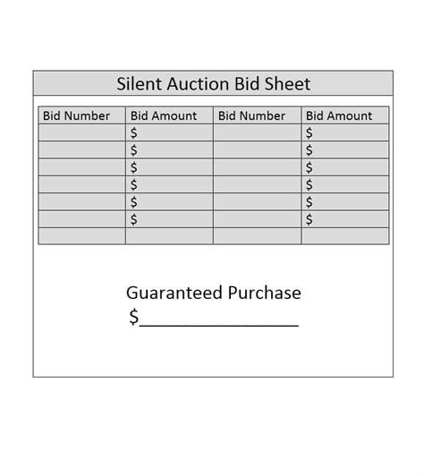 Silent Auction Bid Cards Template by Silent Auction Bid Sheet Template Free Word Printable