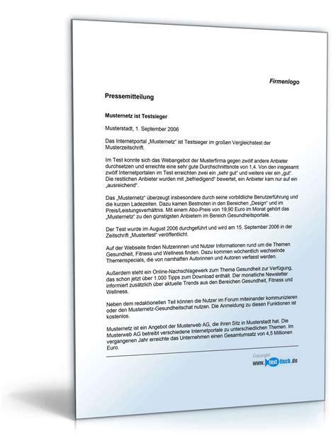 Vorlage Word Pressemitteilung pressemitteilung 252 ber den gewinn eines tests muster zum