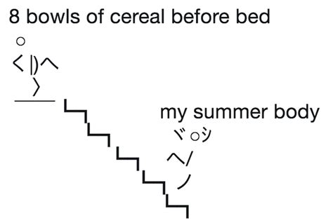 cereal before bed 8 bowls of cereal before bed kick down the stairs ascii