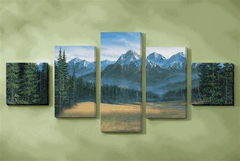 Rustic Bedroom Furniture Sets rocky mountain canvas wall art set of 5