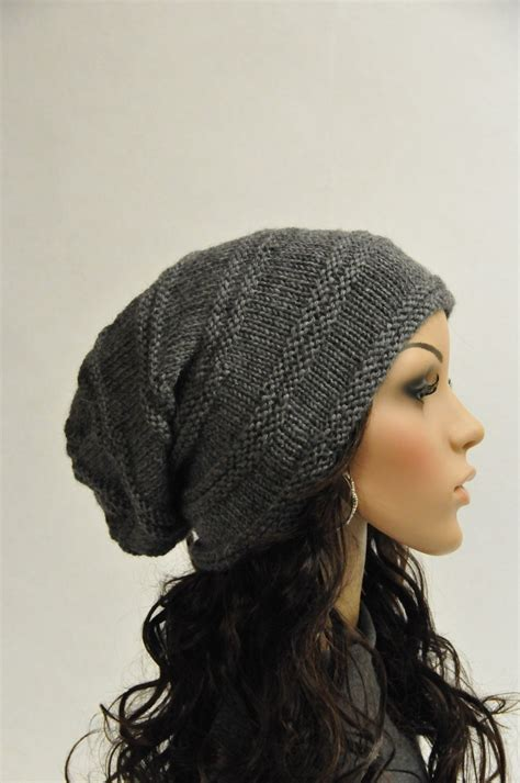 knitted helmet knit slouchy hat charcoal grey wool hat ready to ship