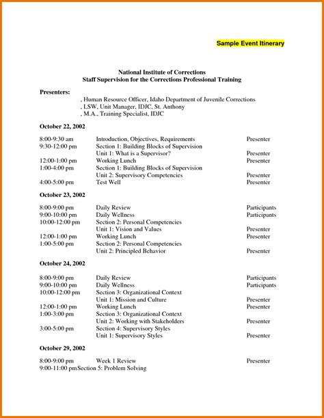 event itinerary template 7 event itinerary template itinerary template sle