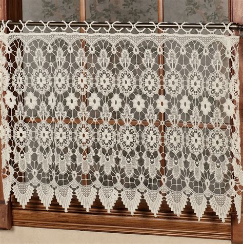 lace cafe curtains by the yard macrame lace cafe curtains home design ideas