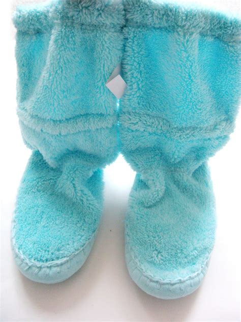 gap slippers new gap sz xs 10 11 pink blue plush fleece bootie house