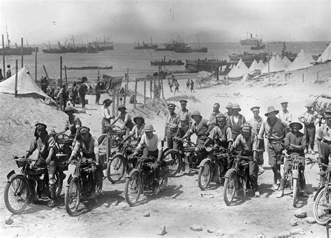 ottoman troops 1915 british soldiers on motorcycles in the dardanelles