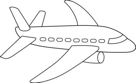 Airplane Clipart Coloring Page | airplane clipart black and white free clipart images